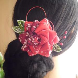 Red Maroon Rose Hair Comb Hair Fasc..